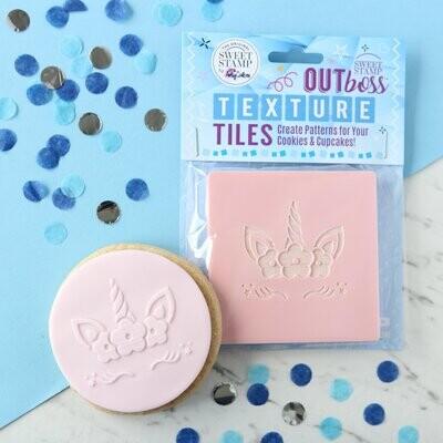 Sweet Stamp -OUTboss Texture Tiles -UNICORN -FLORAL - Σφραγίδα Μονόκερος