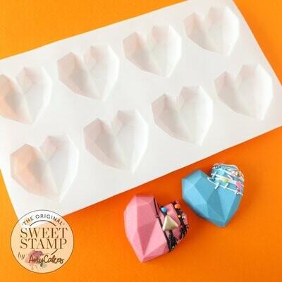 Sweet Stamp Geometric Heart Mould -MINI - Καλούπι Σιλικόνης για 8 μίνι γεωμετρικές Καρδιές