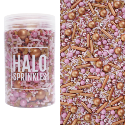 Halo Sprinkles 125γρ -ROSÉ ALL DAY - Μείγμα Ζαχαρωτών σε Μπρονζέ και Ροζ Αποχρώσεις