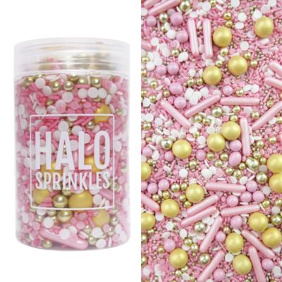 Halo Sprinkles 125γρ -PRINCESS PARTY - Μείγμα Ζαχαρωτών σε Ροζ και Χρυσές Αποχρώσεις