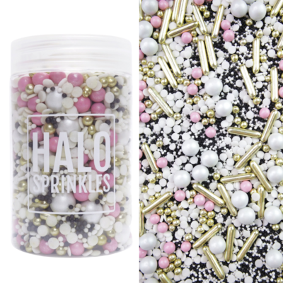 Halo Sprinkles 125γρ -PUNK PRINCESS - Μείγμα Ζαχαρωτών σε Χρυσές, Λευκές και Μαύρες Αποχρώσεις