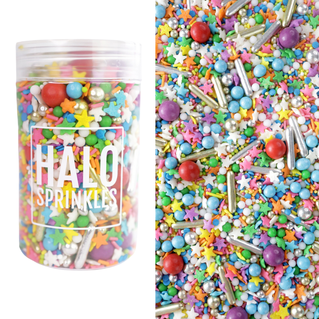 Halo Sprinkles 125γρ -RETRO RAINBOW - Μείγμα Ζαχαρωτών σε Αποχρώσεις του Ουράνιου τόξου