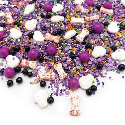 Happy Sprinkles Mix -FUNKY HALLOWEEN 90g - Μείγμα Ζαχαρωτών Halloween σε Μωβ, Λευκό και Μαύρο