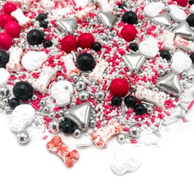 Happy Sprinkles Mix -SPOOKY LOVE STORY 90g - Μείγμα Ζαχαρωτών Halloween σε Κόκκινο, Μαύρο, Ασημί