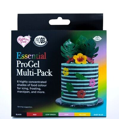 Rainbow Dust ProGel® -Multipack -ESSENTIALS 6 τμχ - Σετ 6τεμ Χρώματα Τζελ - Μαύρο, Κόκκινο, Πράσινο, Κίτρινο, Ροζ, Γαλάζιο