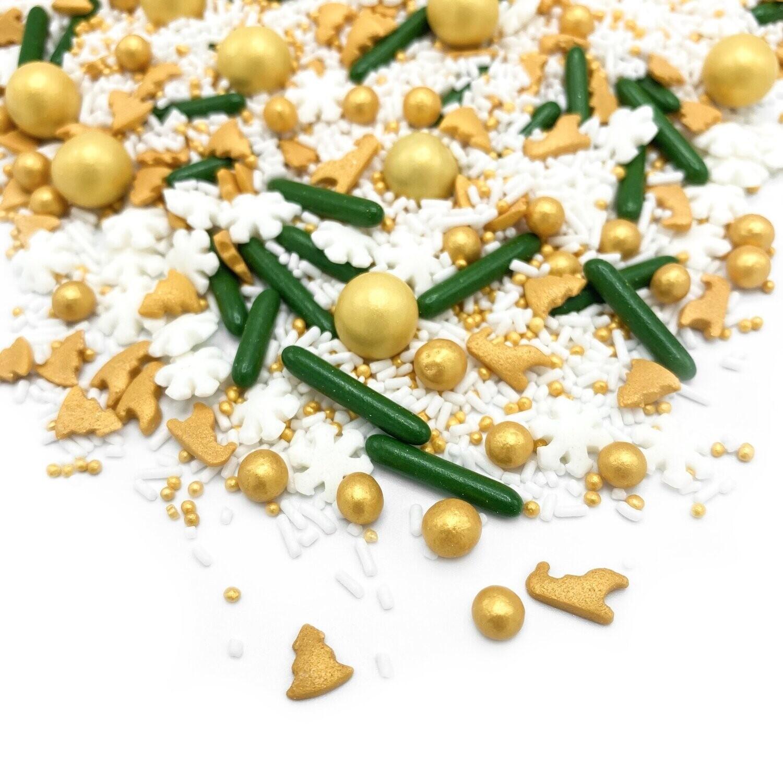 Happy Sprinkles Mix -SLEIGH RIDE 90g - Μείγμα Ζαχαρωτών Χριστουγεννιάτικο σε χρυσές, λευκές και πράσινες αποχρώσεις