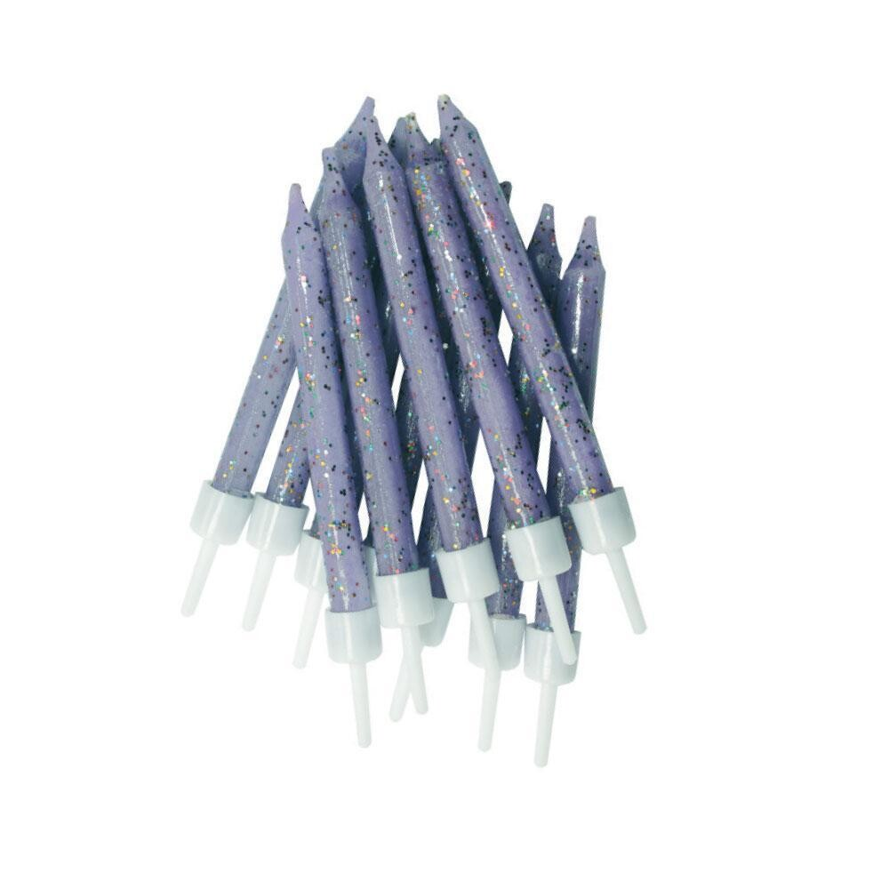 By AH -Candles -Set of 12 GLITTER  LILAC -Κεράκια με Γκλίτερ Λιλά 12 τεμ