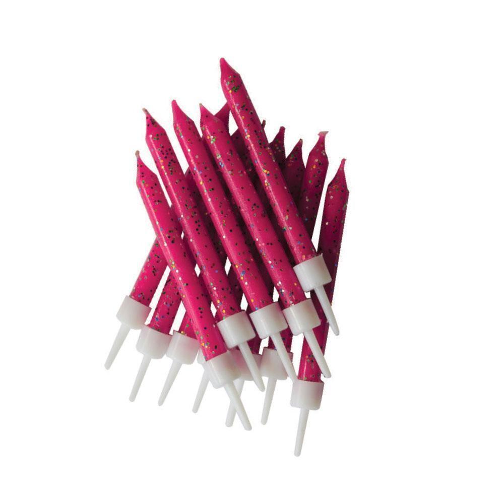 By AH -Candles -Set of 12 GLITTER FUCHSIA -Κεράκια με Γκλίτερ Φούξια 12 τεμ