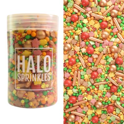 Halo Sprinkles 125γρ - FALL Y'ALL - Μείγμα Ζαχαρωτών σε Φθινοπωρινές Αποχρώσεις με φύλλα