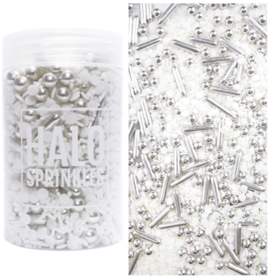 Halo Sprinkles 125γρ -SILVER LINING - Μείγμα Ζαχαρωτών σε Λευκές και Ασημί Αποχρώσεις