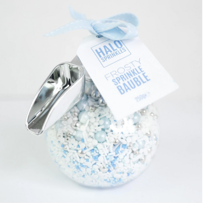 Halo Sprinkles 250γρ -FROSTY SPRINKLE BAUBLE & ΣΕΣΟΥΛΑΚΙ - Μείγμα Ζαχαρωτών χριστουγεννιάτικο σε Λευκές και Γαλάζιες Αποχρώσεις