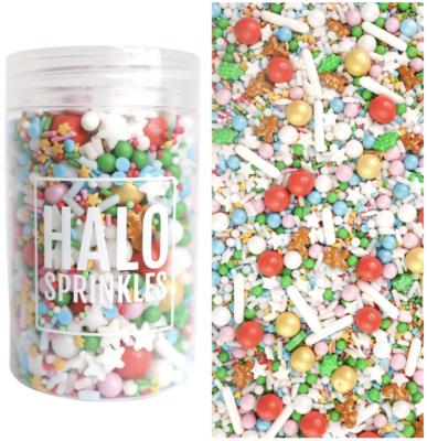 Halo Sprinkles 125γρ -NAUGHTY OR  NICE -Μείγμα Ζαχαρωτών χριστουγεννιάτικο με Φύλλα Γκι και Μπισκοτανθρωπάκια