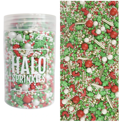 Halo Sprinkles 125γρ -OCD -Μείγμα Ζαχαρωτών χριστουγεννιάτικο με Φύλλα Γκι και Γλειφιτζούρια