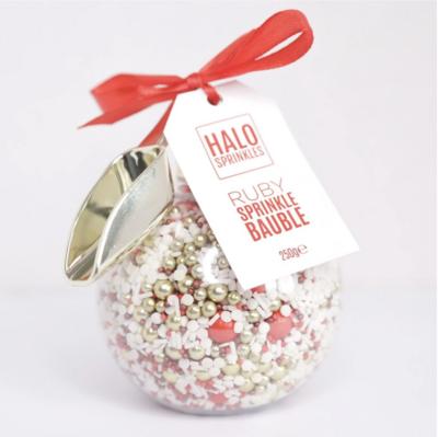 Halo Sprinkles 250γρ -RUBY SPRINKLE BAUBLE & ΣΕΣΟΥΛΑΚΙ - Μείγμα Ζαχαρωτών χριστουγεννιάτικο σε Λευκές, Χρυσές και Κόκκινες Αποχρώσεις!