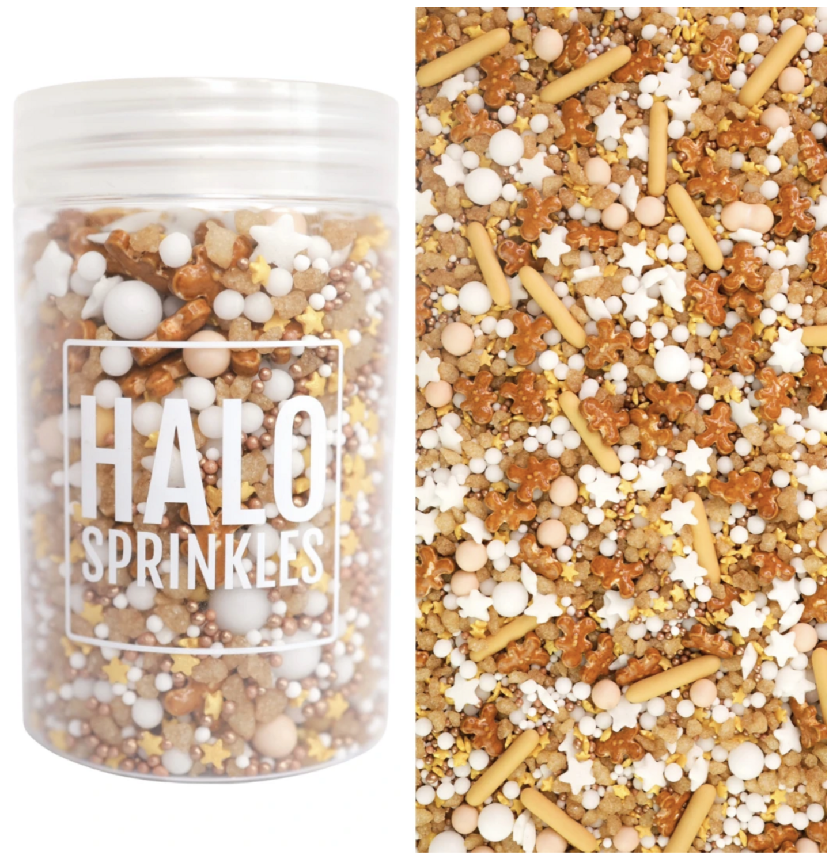 Halo Sprinkles 125γρ -LET'S GET BAKED -Μείγμα Ζαχαρωτών χριστουγεννιάτικο σε Αποχρώσεις του Καφέ με Μπισκοτανθρωπάκια