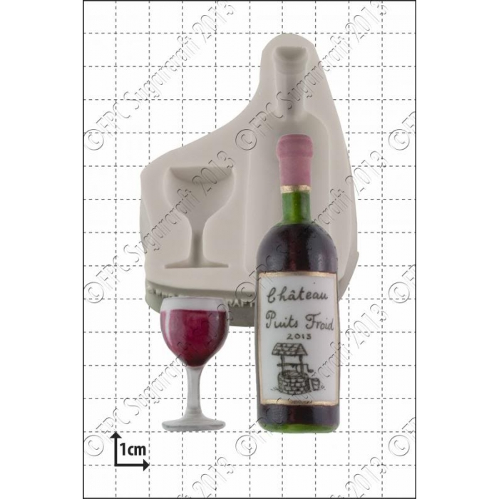 SALE!!! FPC Silicone Mould -WINE BOTTLE & GLASS -Καλούπι Μπουκάλι Κρασί με Ποτήρι
