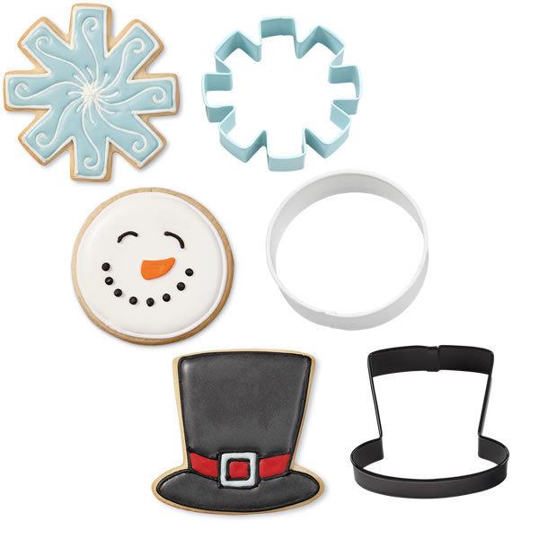 SALE!!! Wilton Christmas Cookie Cutter Set of 3 -SNOWMAN CUTTERS (HAT, SNOWFLAKE, ROUND FACE) -Σετ 3 τεμ κουπ πατ καπέλο, χιονονιφάδα, στρογγυλό πρόσωπο 7.6εκ
