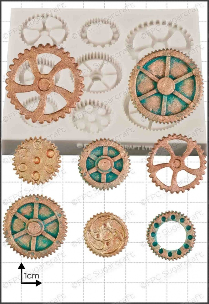 FPC Silicone Mould -STEAM PUNK COGS & GEARS No.2 -Καλούπι Σιλικόνης Γρανάζια & Τροχοί no.2