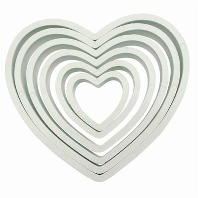 PME Geometric Basics -Set of 6 -HEART Cutters -Σετ 6τεμ κουπ πατ Πλαστικά Βασική Σειρά  Καρδιές 6 τεμ