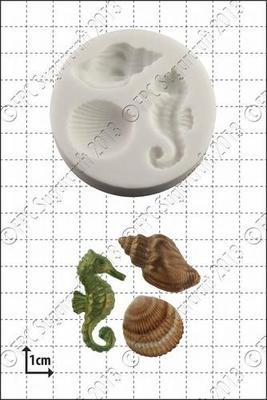 FPC Silicone Mould -SHELLS & SEAHORSES -Καλούπι Σιλικόνης Ιππόκαμπος & Κοχύλια