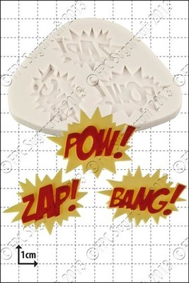 SALE!!! FPC -Silicone Mould -ZAP POW BANG -Καλούπι Σιλικόνης Εκφράσεις Κινουμένων Σχεδίων