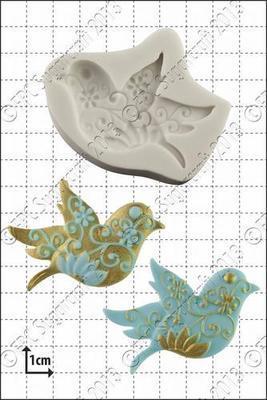 FPC Silicone Mould -FLORAL BIRD -Καλούπι Σιλικόνης Λουλουδένιο Πουλάκι
