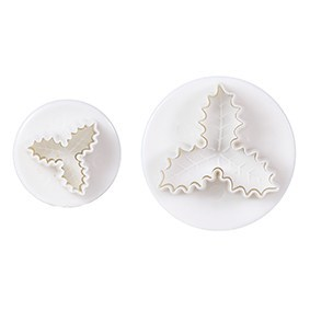 Cake Star Plunger Cutters -VEINED TRIPLE HOLLY LEAVES - Σετ 2 τεμ κουπ πατ με Εκβολέα Ανάγλυφο Τρίφυλλο Γκι