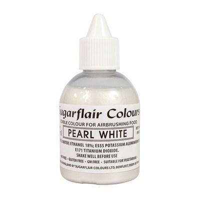Sugarflair Airbrush Colour -PEARL WHITE -Χρώμα Αερογράφου 60ml Περλέ Λευκό
