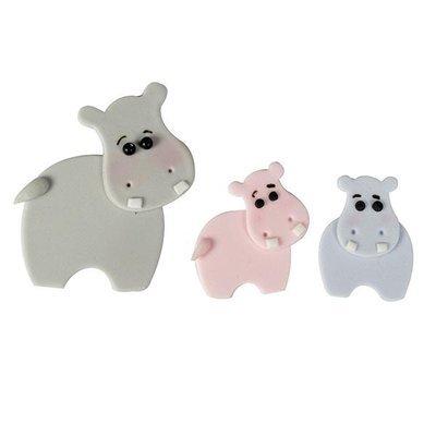 FMM Cutters -Mummy & Baby HIPPOS - Σετ 4τεμ κουπ πατ Ιπποπόταμος Μαμά & Μωράκι