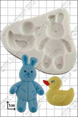 FPC Silicone Mould -DUCK & BUNNY -Καλούπι Σιλικόνης Παπάκι & Κουνελάκι