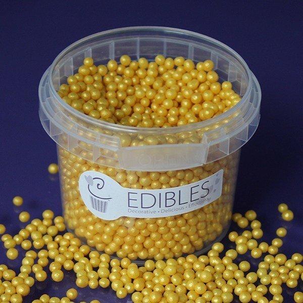 Purple Cupcakes Sugarballs -GOLD RUSH SHIMMER 4mm - Βρώσιμες Πέρλες Χρυσές Γυαλιστερές 4χιλ, 80γρ
