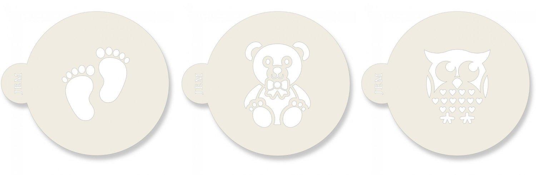 SALE!!! JEM Stencil -Set Of 3 BABY Designs -Footprints, Owl, & Teddy Bear - Σετ 3τεμ Στένσιλ - Πατημασιές, Κουκουβάγια, Αρκουδάκι