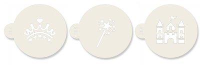 SALE!!! JEM Stencil -Set Of 3 PRINCESS designs -Crown, Wand, Castle - Σετ 3τεμ Στένσιλ - Στέμμα, Ραβδί, Κάστρο