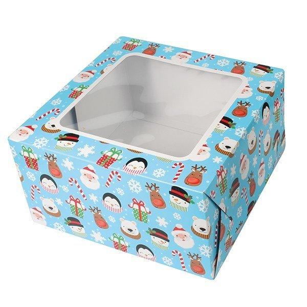 Box for Cakes 25cm CHRISTMAS WINTER -Τετράγωνο Κουτί Χριστούγεννα 25εκ