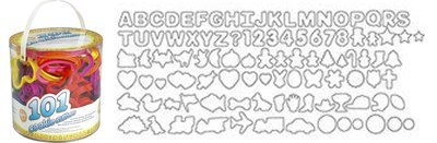 Wilton Tub of 101 Cookie Cutters. Alphabet, animals, Christmas themed & many more! - Σετ 101τεμ Πλαστικά κουπ πατ Αλφάβητο, Ζώα, Χριστουγεννιάτικα και πολλά άλλα