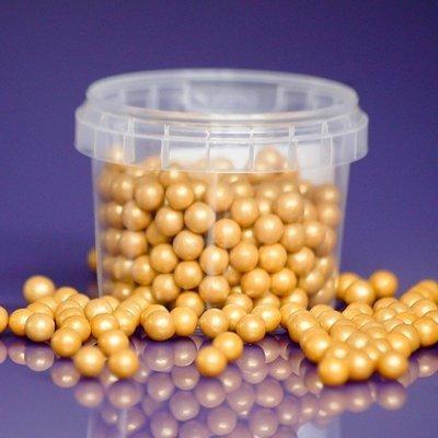Purple Cupcakes Sugarballs -GOLD PEARL 7mm -Βρώσιμες Πέρλες Χρυσές Περλέ 7χιλ,  90γρ