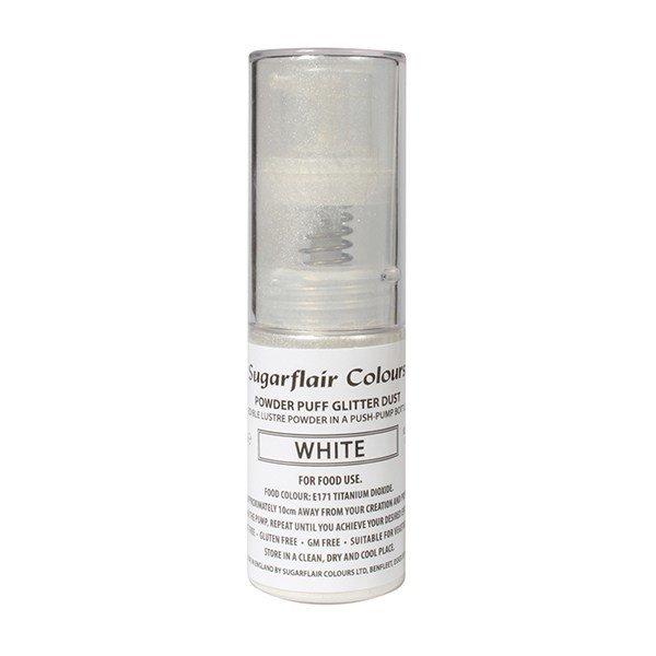 Sugarflair Powder Puff Glitter Dust Pump Spray -WHITE 10g - Σπρέι Αντλίας βρώσιμης σκόνης γκλίτερ - Λευκό