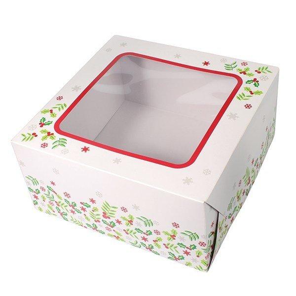 SALE!!! Box for Cakes 25cm CHRISTMAS HOLLY -Τετράγωνο Κουτί για Γλυκά Χριστουγεννιάτικος Πρίνος 25εκ
