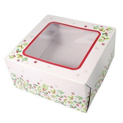 Box for Cakes 20cm CHRISTMAS HOLLY -Τετράγωνο Κουτί για Γλυκά Χριστουγεννιάτικος Πρίνος