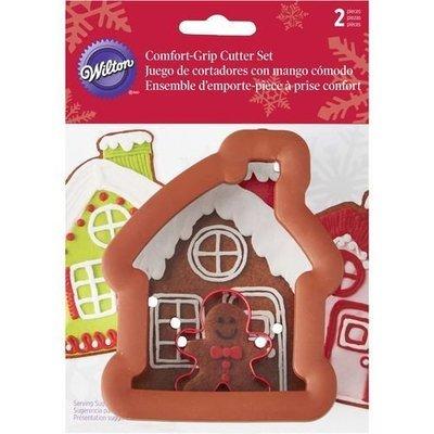 Wilton Christmas Metal Grippy Cutter -GINGERBREAD HOUSE & GINGERBREAD BOY - Κουπ πατ Μπισκοτένιο αγοράκι και Σπιτάκι 11εκ