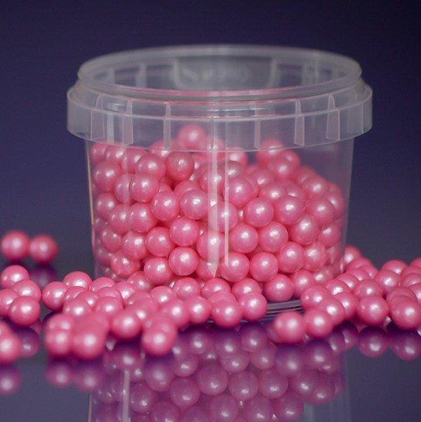 Purple Cupcakes Sugarballs -PINK PEARL 7mm -Βρώσιμες Πέρλες Ροζ Περλέ 7χιλ,  100γρ