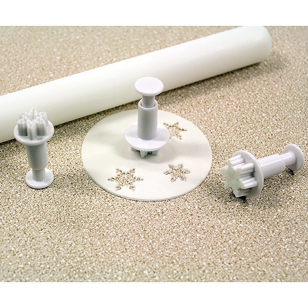PME Plunger Cutters -Set of 3 -MINI SNOWFLAKES -Σετ 3τεμ κουπ πατ με Εκβολέα Μίνι Χιονονιφάδα