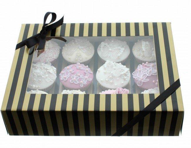 By Claire Bowman Cupcake Box -GOLD & BLACK STRIPE -Κουτί για 12 Cupcakes/Μuffins Χρυσή & Μαύρη Ρίγα