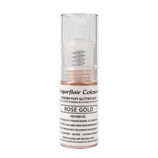 Sugarflair Powder Puff Glitter Dust Pump Spray -ROSE GOLD 10g - Σπρέι Αντλίας βρώσιμης σκόνης γκλίτερ - Ροζ Χρυσό