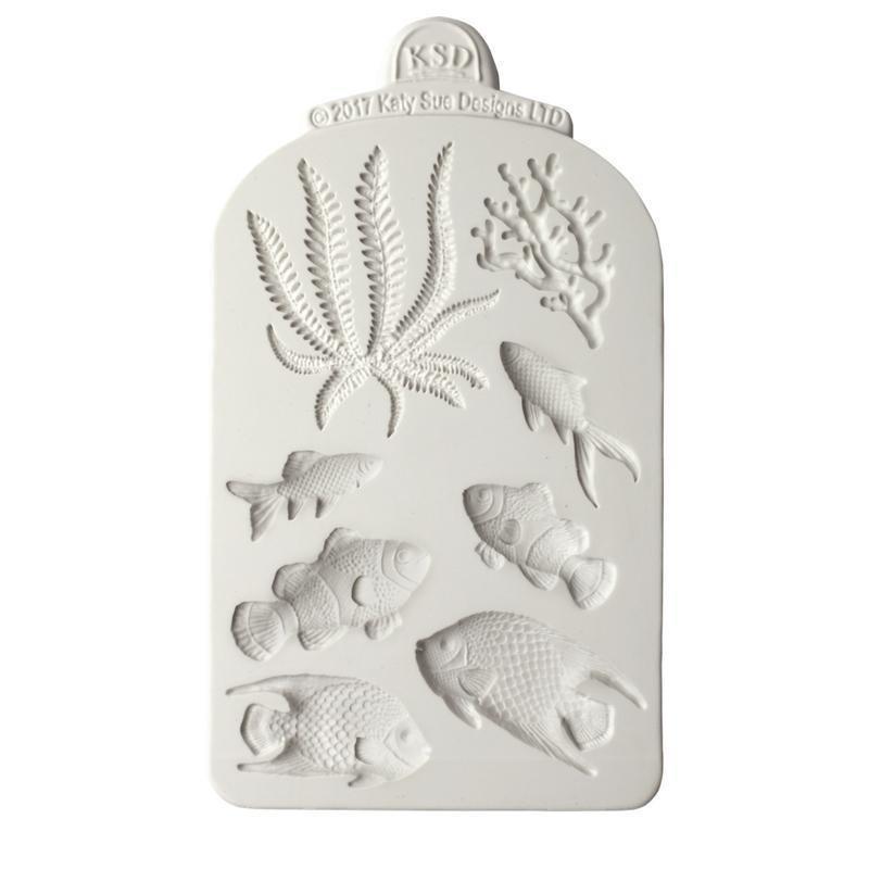 Katy Sue Silicone Mould -FISH, SEAWEED & CORAL -Καλούπι Σιλικόνης Ψάρια, Φύκι & Κοράλλι