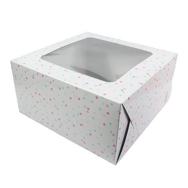 Box for Cakes 25cm PINK & BLUE SPOT -Τετράγωνο Κουτί για Γλυκά με Ροζ & Μπλε Πουά 25εκ