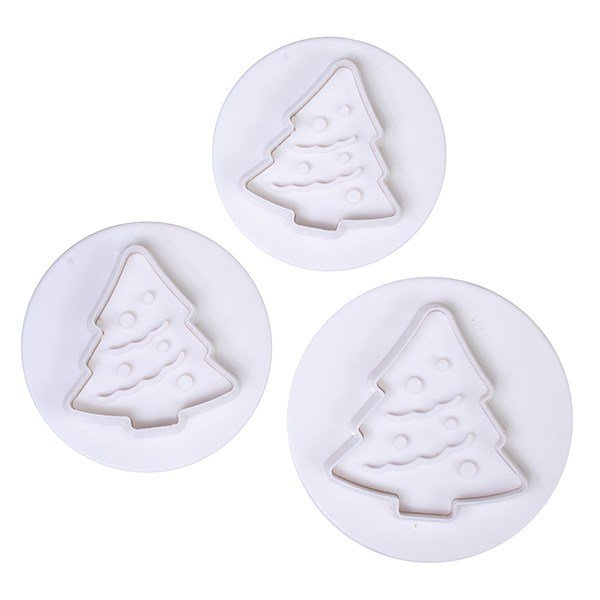 Cake Star Plunger Cutters -CHRISTMAS TREES - Σετ 3τεμ κουπ πατ Χριστουγεννιάτικο Δέντρο με Εκβολέα