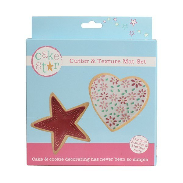 SALE!!! Cake Star Cutter & Texture Mat Set -HEART & STAR -Κουπ πατ Καρδιά & Αστέρι -Σετ 3 Τεμαχίων