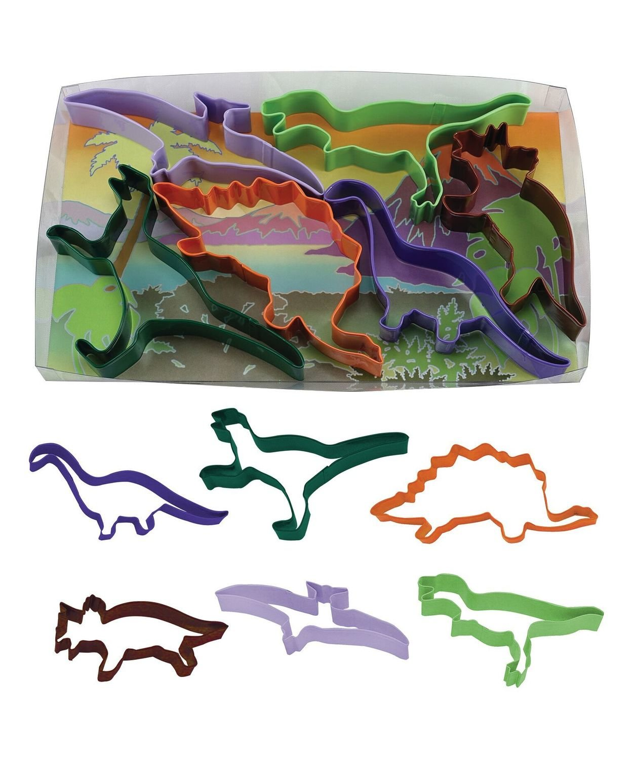 By AH -Set of 6 Cookie Cutters -DINOSAUR - Σετ 6 τεμ κουπ πατ Δεινόσαυροι 13εκ.