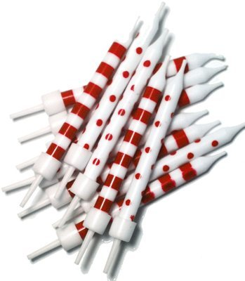 By AH -Candles -Set of 12 SPOT & STRIPE RED & WHITE -Κεράκια με Ρίγες & Βούλες Λευκά & Κόκκινα 12 τεμ